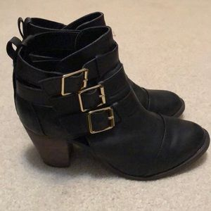 Black buckle booties